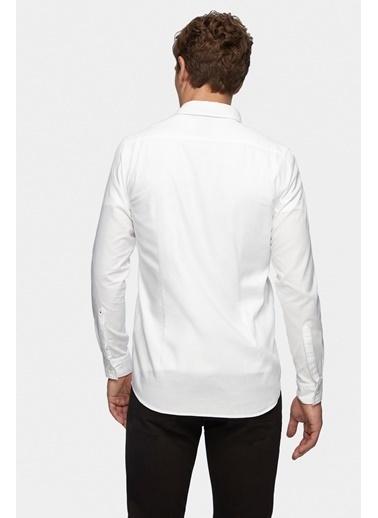 Tween Slim Fit Baskılı Gömlek Beyaz